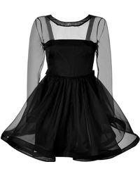 Valentino Silk Dress with Flounce Skirt black - Lyst