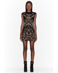 Alexander McQueen Black Floral Cap Sleeve Mini Dress - Lyst