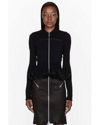 McQ by Alexander McQueen Black and Navy Leather Trimmed Knit Jacket - Lyst
