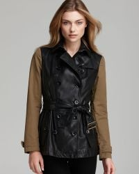 Burberry Brit Crofton Leather Coat with Canvas Sleeves - Lyst