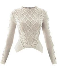Carven Sculpted Cable-knit Sweater - Lyst