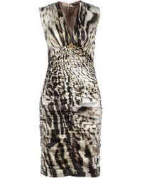 Roberto Cavalli Embellished Silk Dress - Lyst