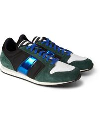 AMI Suede Mesh and Metallic Leather Sneakers - Lyst