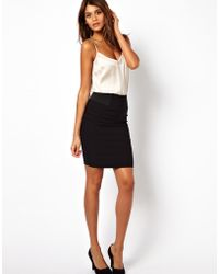 Asos High Waisted Pencil Skirt With Elastic Sides - Lyst