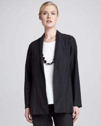 Eileen Fisher Crepe Shawl-collar Jacket - Lyst