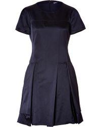 Jil Sander Navy Silk Dress - Lyst