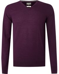 Linea Loughton Merino Vneck Jumper purple - Lyst