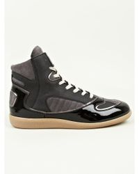 Maison Margiela 22 Mens Black Polycoated High Top Sneakers - Lyst