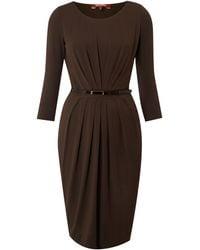 Max Mara Studio Agosto Three Quarter Sleeved Belted Dress - Lyst