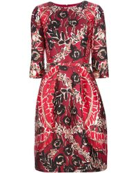 Oscar de la Renta Abstract Print Dress - Lyst