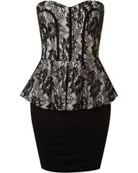 Tfnc Lace Peplum Bustier Dress - Lyst