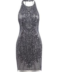 Adrianna Papell Embellished Halter Neck Dress - Lyst