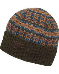Barbour - Olive Melrose Fairisle Beanie Hat - Lyst