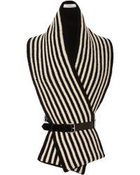 Bouchra Jarrar - Shetland Stripe Scarf with Leather Harness - Lyst