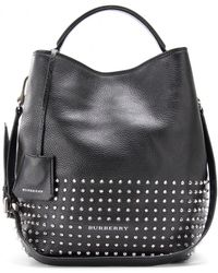 859488441234 Burberry Brit - Susanna Leather Hobo Bag with Studs - Lyst