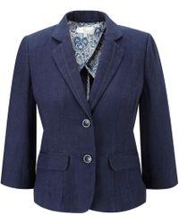 Cc Indigo Grosgrain Trim Linen Jacket - Lyst