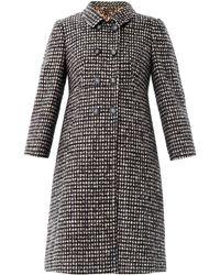 Dolce & gabbana Check Tweed Swing Coat in Black | Lyst