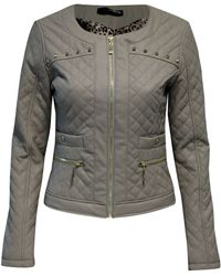 Jane Norman Quilted Stud Biker Jacket - Lyst