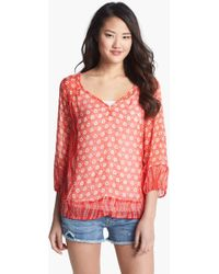 Lucky Brand Caley Mixed Print Chiffon Top - Lyst