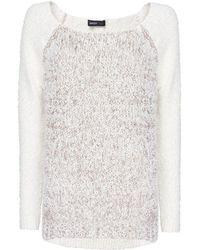 Mango Flecked Panel Sweater - Lyst