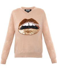 Markus Lupfer Sequin Lips Sweater - Lyst