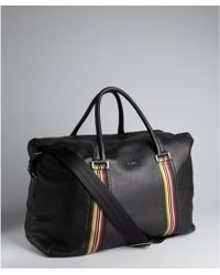 Paul Smith Black Pebbled Leather Large Travel Duffel Bag - Lyst
