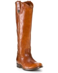 Frye Flat Riding Boots - Melissa Button Extended Calf brown - Lyst