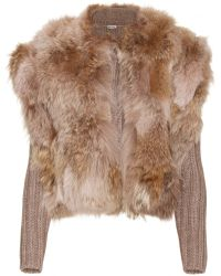Miu Miu Ribbed Knit Cardigan with Furtrimmed Overlay - Lyst