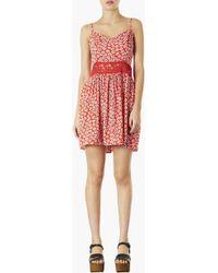 Topshop Crochet Waist Daisy Dress - Lyst