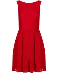 Topshop Sarah Skater Lace Dress By Tfnc - Lyst