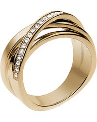 Michael Kors Goldtone Crystal Intertwined Ring - Lyst