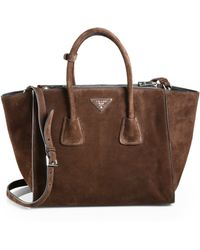 Prada Suede Twin Pocket Tote - Lyst