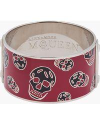 Alexander McQueen Large Burgundy Enamel Skull Cuff - Lyst
