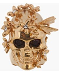 Alexander McQueen Gold Crystal Butterfly Skull Statement Ring - Lyst