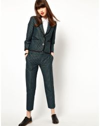 Boutique by Jaeger - Slim Leg Trousers in Polka Dot - Lyst
