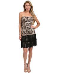 Sue Wong Strapless Fringe Dress in Blackcognac - Lyst