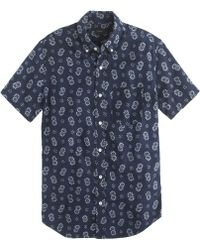 J.Crew Shortsleeve Shirt in Reverse Indigo Floral Japanese Chambray - Lyst