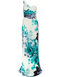 Adrianna Papell Floral Print Gown white - Lyst