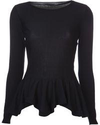 Alexander McQueen Peplum Knit Top black - Lyst