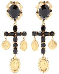 Dolce & Gabbana Crystal Cross Earrings - Lyst