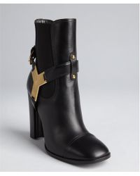 Saint Laurent Black Leather and Y Charm Stacked Heel Ankle Boots - Lyst