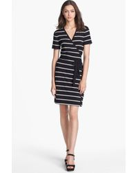 Calvin Klein Stripe Faux Wrap Dress - Lyst