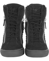 Giuseppe Zanotti Swarovski Elemants and Suede High Top Sneaker - Lyst