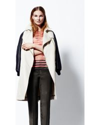 Sophie Hulme - Creamnavy Zip Front Mac with Leather Sleeves By - Lyst