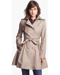 Betsey Johnson Lace Flap Double Breasted Trench Coat - Lyst