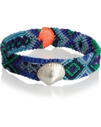 Dezso by Sara Beltran - Blues Shell Wovencotton and Silver Friendship Bracelet - Lyst