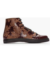 Marc Jacobs Bordeaux Etched Floral Print Leather Sneakers - Lyst