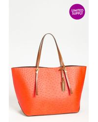 Michael Kors Gia Ostrich Embossed Leather Tote Extra Large - Lyst