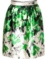 Prabal Gurung Silkcotton Gathered Skirt in Greenwhite - Lyst