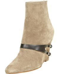 Elizabeth and James - Reily Harness Suede Wedge Bootie Stone - Lyst